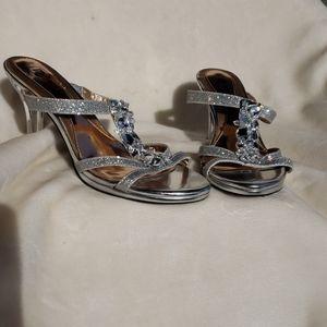 Mootsies Tootsies silver blinged heeled sandals